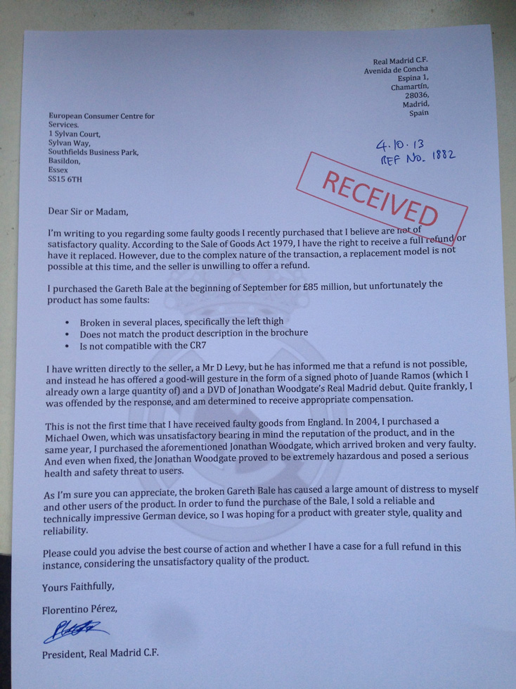 The Spoof Florentino Perez letter on Real Madrid asking Spurs for a refund on Gareth Bale